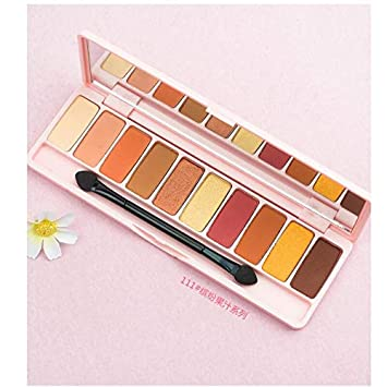 Amazon.com : 10 Color Peach Matte Eyeshadow Palette For Red Shadows Korean Makeup Brand Pink Cherry Blossom Glitter Eyes Shadows Palet 111 : Beauty