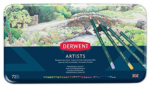 Derwent Artists Colored Pencils, 4mm Core, Metal Tin, 72 Count (32097) (Collection Derwent Watercolor)