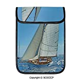 SCOCICI Shockproof Tablet Sleeve Compatible 12.9 Inch iPad Pro Sailboat On The Sea Regatta Race Yacht and Windy Weather Competition Theme Tablet Protective Bag