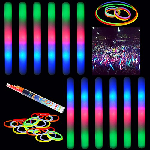 "(12 Pack) 16"" Multicolor LED Flashing Effect Foam Sticks Party Pack and 24 8"" Glow Sticks by Joyin Toy"