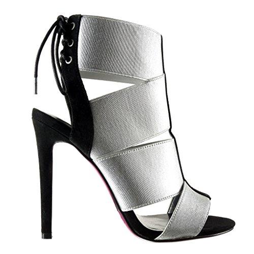 Angkorly - Chaussure Mode Sandale Bottine stiletto sexy femme lanière multi-bride lacets Talon haut aiguille 12 CM - Argent