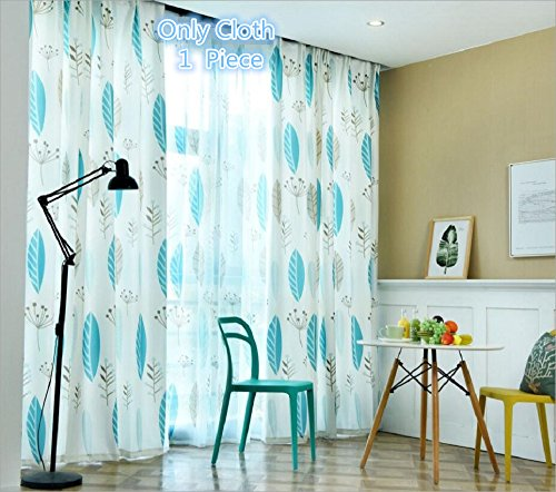 TIYANA Nordic Style Cloth Curtains for Living Room 96 inch long Cotton Linen Curtain Modern Rustic Curtains Fabrics Kitchen Door Curtains Drapes Metal Rings Top, 1 Piece, Blue Leaf, W95 x L96 inch Review