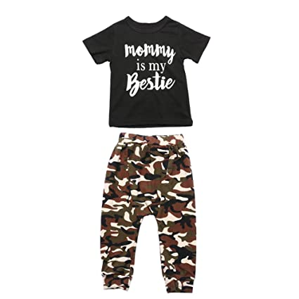fc9699ce5dd7 Amazon.com  Two Pieces Toddler Baby Boy Clothes Letters Short Sleeve ...