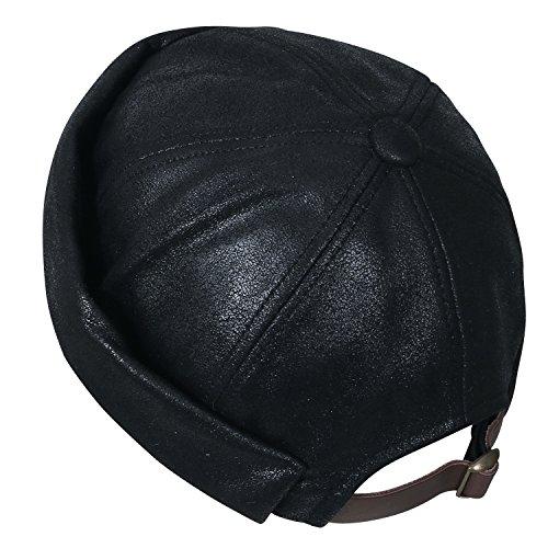 Color ililily Black Winter Beanie Short Strap Leather Back Faux Cap Hat Casual Solid wtCqxtaSr