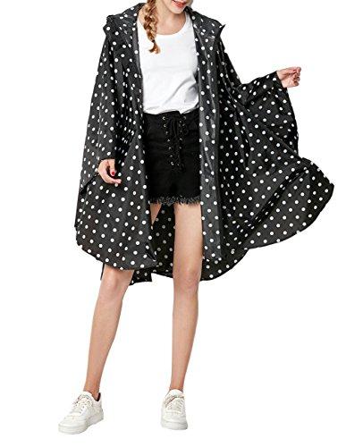 Buauty Womens Black Dot Hooded Zip Up Waterproof Active Outdoor Rain Jacket Raincoats Lightweight Poncho by Buauty