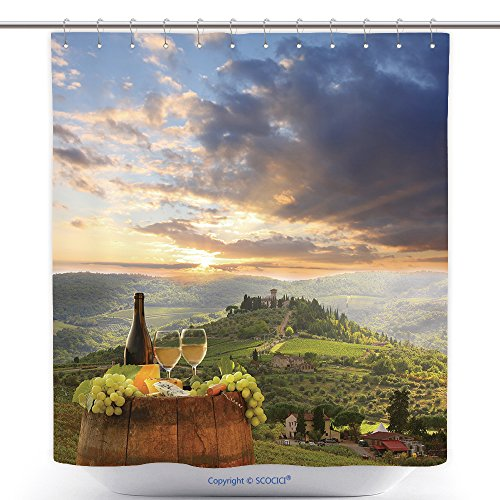 Decorative Shower Curtains White Wine With Barrel On Vineyard In Chianti Tuscany Italy 151635077 Polyester Bathroom Shower Curtain Set With Hooks