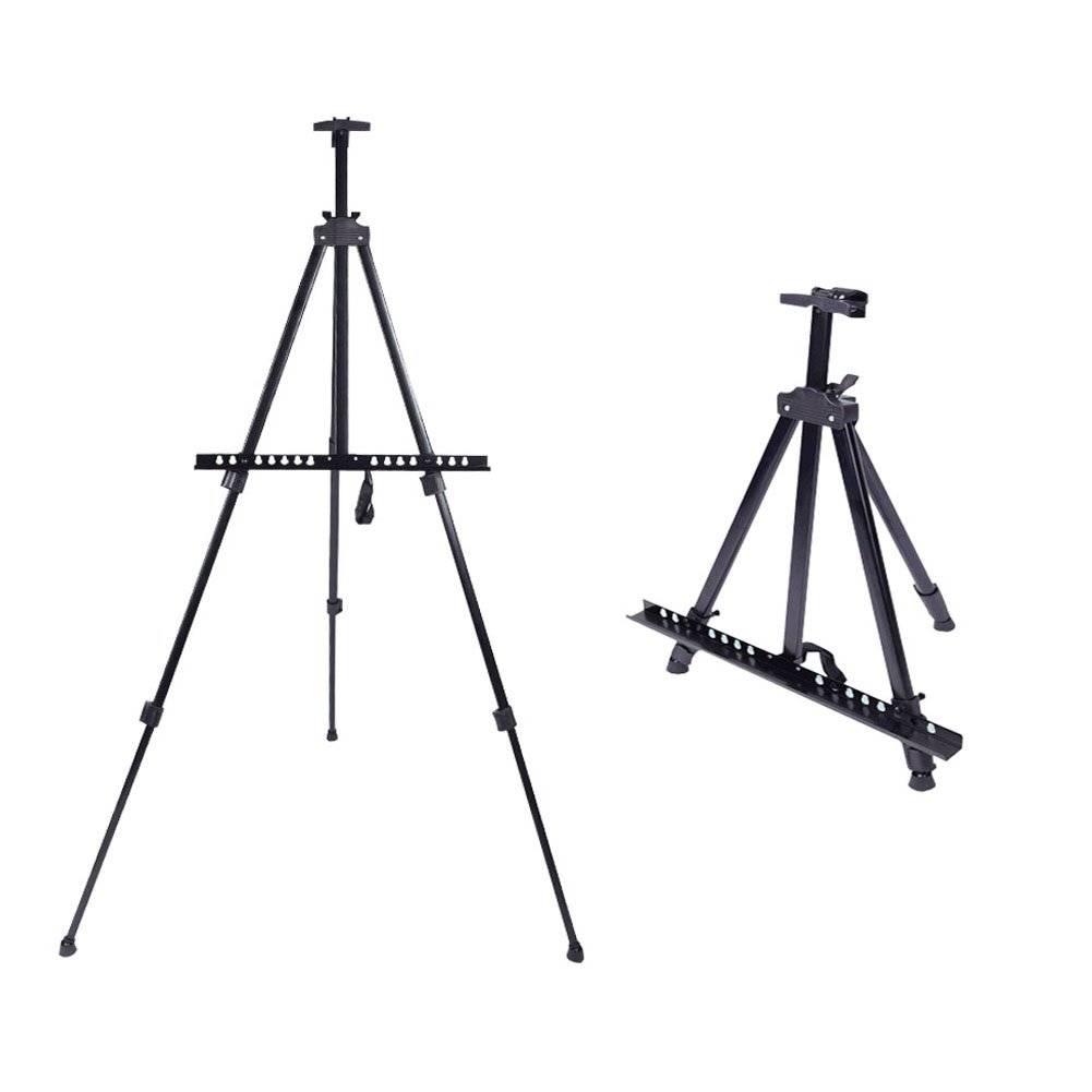 Artist Easel Stand - 66'' Aluminum Metal Art Easel 21'' to 66'' Adjustable Height with Black Carry Bag by Apoulin (Image #1)