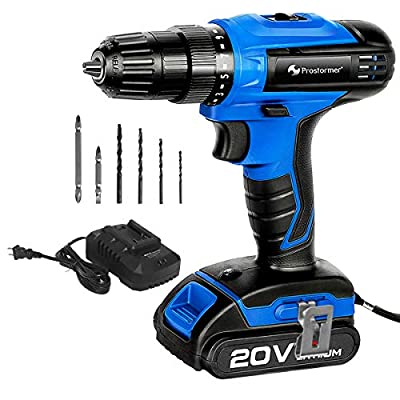 """PROSTORMER 20V Max 3/8"""" Cordless Drill Driver Set, 2-Speed Max Torque 310 In.lbs 15+1 Position with LED, 1 Hour Fast Charger"""