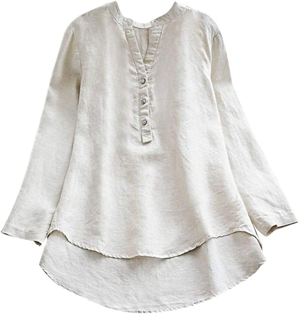Womens Cotton Linen Shirts,Donci Fashion Loose Comfy Large Size Summer Tops Fake Two Piece Blousers