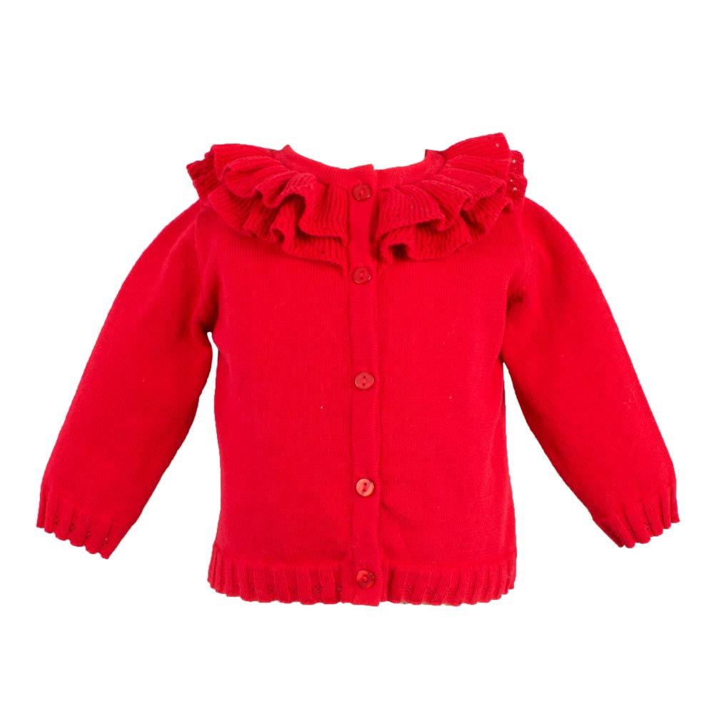 Petit Ami Baby Girls' Pointelle Ruffle Collar Cardigan, 3 Months, Red by Petit Ami