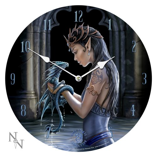 (Anne Stokes Water Dragon Bedroom Wall Clock Round Gothic Medieval Clock)