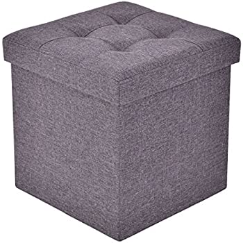Giantex Folding Storage Cube Ottoman Seat Stool Box Footrest Furniture  Decor (Dark Gray)