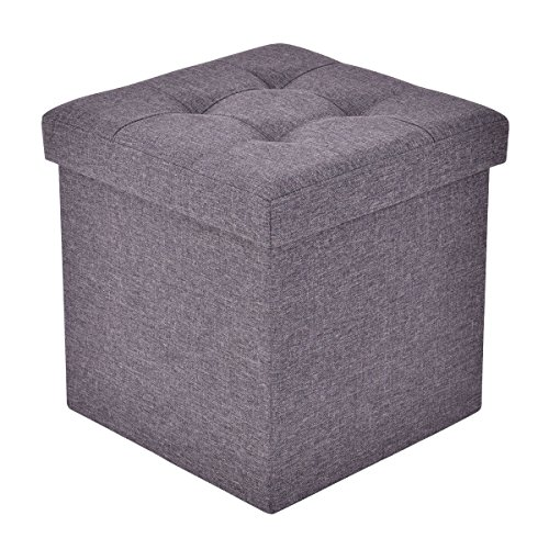 Giantex Folding Storage Cube Ottoman Seat Stool Box Footrest Furniture Decor (Dark Gray) Review