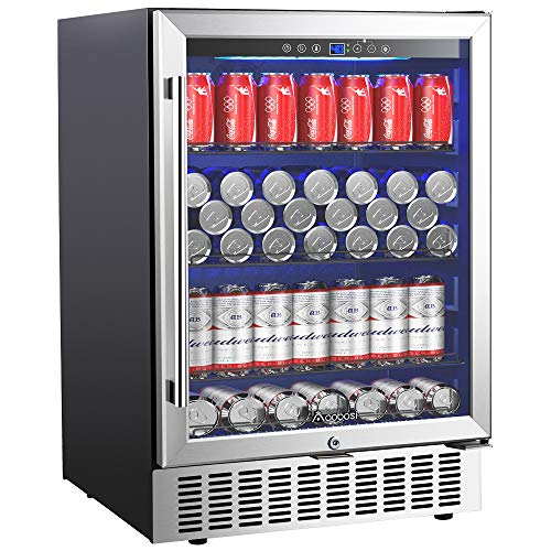 "Aobosi 24"" Beverage Cooler 164 Cans Freestanding and Built-in Beverage Refrigerator with Advanced Cooling System, Tempered Glass Door, Quiet Operation, Energy Saving 