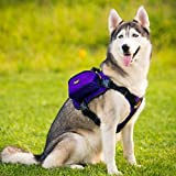 Paw Essentials Adjustable Saddle Bag Dog Backpack Carrier with Harness for Medium large to Large Dogs for Traveling - Hiking and Camping (Purple - L - neck:19.5 - 27.5 inches - chest:27.5 - 38.5 inches)