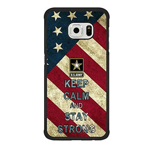 Skinsends Vanity American Flag US Army Quote Phone case Compatible with Galaxy S6 Edge, Keep Calm and Stay Strong Phone Cover Compatible with Samsung Galaxy S6 Edge]()