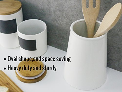 Sweese 801.101 Porcelain Utensil Holder for Kitchen, White 4 LARGE SIZE - It is 7.2 inches tall, and 5.9 inches in diameter of bottom and 4.3 inches of the top. Large enough to keep most of your daily utensils in it. MULTI-PURPOSE - Used for most kitchen utensils such as spatulas, spoons. Make everything tidily and easy to reach. It can also do double duty as a flower VASE. HEAVY & STURDY - Made of hard-paste porcelain, lead-free ceramic. Chip resistant and heavy duty so it will not tip over when it is hit accidentally.