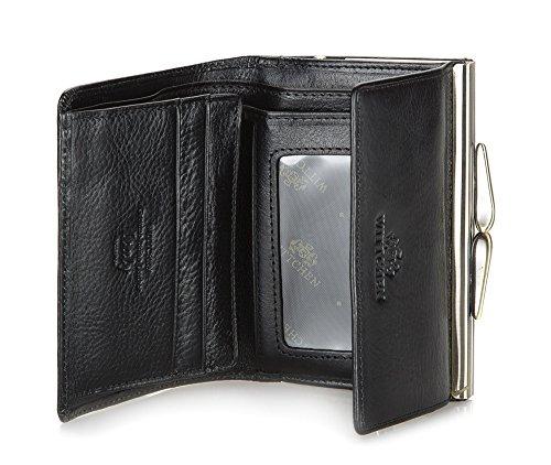 WITTCHEN Brieftasche | 9.5x12 cm | Narbenleder, Schwarz | Handmade, Kollektion: Italy - 21-1-059-1