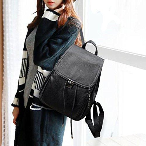 Multicolor Leather College Ruckasack For Girls Bag School Fashion Shoulder Black Women Pu Backpack qY7YtU