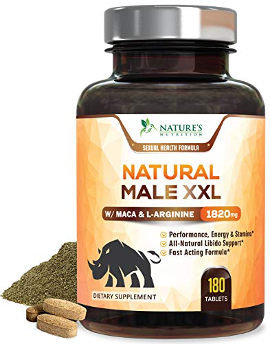 Natural Male XXL Pills - Enlargement Booster Increases Energy, Mood & Endurance - Natural Size, Stamina & Strength Booster - Best Performance Supplement for Men - 3 Month Supply - 180 Tablets