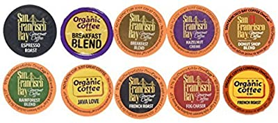 30 Count - San Francisco Bay & Organic Coffee Company Onecup K-cup Variety Pack Sampler (10 Flavors, 3 OneCups Each)
