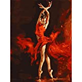 DAchun11 Fire Dancer DIY Digital Oil Painting Art for Adults Kids Paint by Number Canvas Room Home Wall Decorations No Frame 40 * 50cm