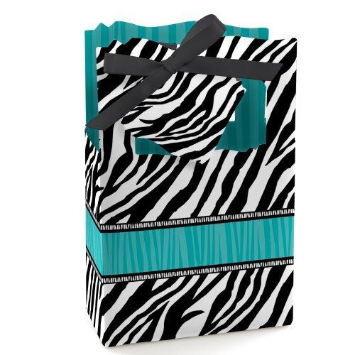 Teal Zebra (Zebra Teal - Party Favor Boxes - Set of 12)
