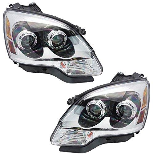 (Clear Lens Halogen Headlight Lamp Right & Left Pair Set for 08-12 GMC Acadia)