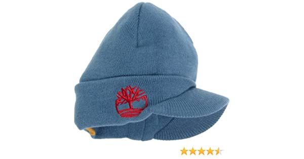 d66c6fd8 Amazon.com: Timberland Big Boys' Flat Knit Hat with Brim, Blue, One Size: Knit  Caps: Clothing