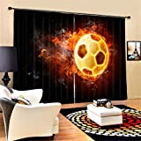 GFYWZ 3D Soccer Fire Three dimensional Visual space Print Polyester Fabrics Blackout Drape Solid Thermal Curtains Home Decor Living room Bedroom Window Drapes , wide 2.64x high 2.41