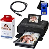 "Canon Selphy CP1200 Wireless Color Photo Printer (Black) + Canon KP-108IN Color Ink Paper Set (Produces up to 108 of 4 x 6"" prints) + USB Printer Cable + HeroFiber Ultra Gentle Cleaning Cloth"