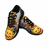 InterestPrint Women's Go Easy Walking Comfort Sports Athletic Shoes Pumpkin with Witches Hat US 7