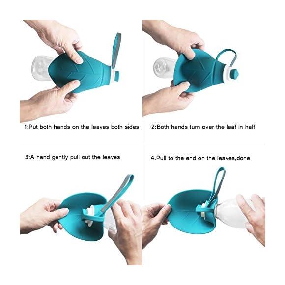 SpeedRobot Portable Dog Water Bottle Walking - Fashion Antibacterial Leak Proof Food Grade Silicone Dog Travel Water Bottle Bowl Dispenser Outdoor - 20 oz (Blue)