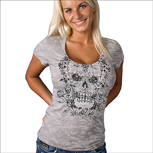 (Hot Leathers GLC1037 Silver, 2XL Victorian Skull Ladies Burnout Biker T-Shirt (Silver, XX-Large))