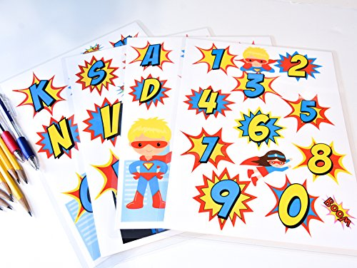 Alphabet and Numbers Laminated for Kids Superhero Alphabet and Numbers Alphabet Laminated