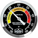 Midwest Hearth Professional Thermometer for BBQ Offset, Cabinet, Barrel Smokers, Pits, and Cookers 3' Dial (4' Stem Length, Black Dial)