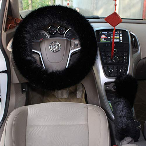 - Cxtiy Car Steering Wheel Cover with Handbrake Cover & Gear Shift Cover, Fashion Steering Wheel Wrap Faux Wool Fluffy Soft and Warm in Winter Diameter 14.96