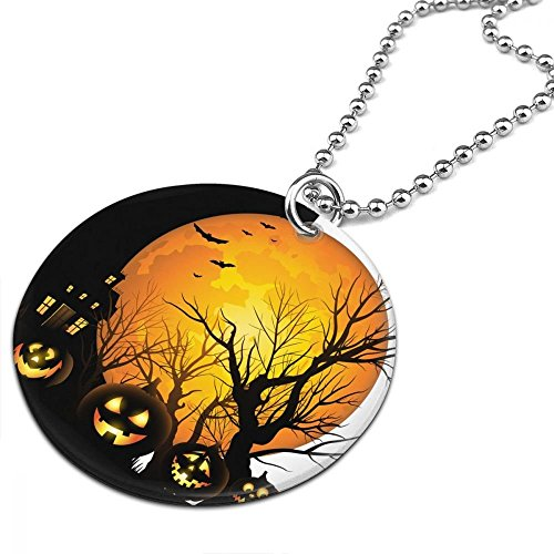 Happy Halloween Autumn Tree & Pumpkin Women Men Jewelry Chain Necklace With Round Pendant