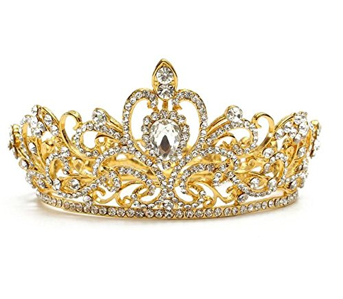 Wiipu Luxury Gold-tone Drop Queen Pageant Prom Crystal Wedding Bridal Tiara Crown(A1072) -