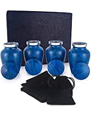 Adera Dreams Small Urns for Human Ashes Keepsake - Set of 4 in Blue Leather - Mini Cremation Urns - Memorial Ashes Urn with Case, Velvet Pouch and Funnel - Miniature Burial Funeral Urns