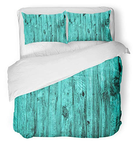 Emvency 3 Piece Duvet Cover Set Breathable Brushed Microfiber Fabric Yellow Beech Wall of Turquoise Wood Macro Antique Ash Blockhouse Board Carcass Bedding Set with 2 Pillow Covers King Size