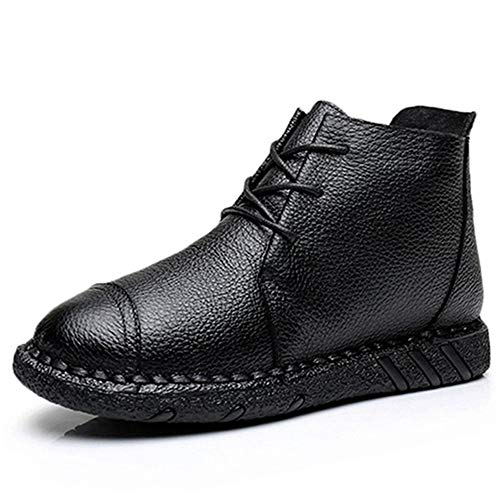 Botas De Cálidos Cuero Botines Vintage Invierno Zapatos Planos Estilo Pingxiannv Mujer Para pd7wqp5