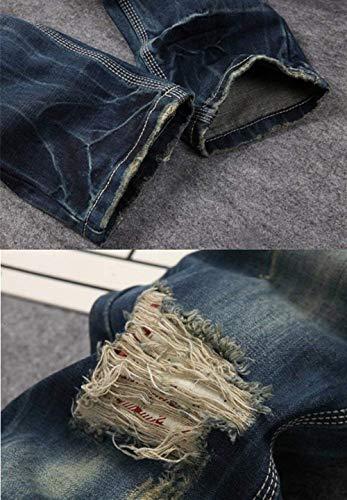 Non Sottili Casual Da Adelina Denim Elasticizzati Jeans Strappati Pantaloni Blau Uomo Abbigliamento Vintage Dritti IxxA1qfwY