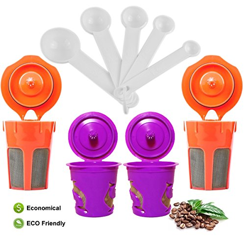 2 Reusable K Carafe and 2 Reusable K Cup - STYDDI Stainless Steel Micro Mesh Coffee Filters Combo With Bonus Coffee Scoop for Keurig 2.0,K200,K300,K400,K500 Series (K Cup And K Carafe Holder compare prices)