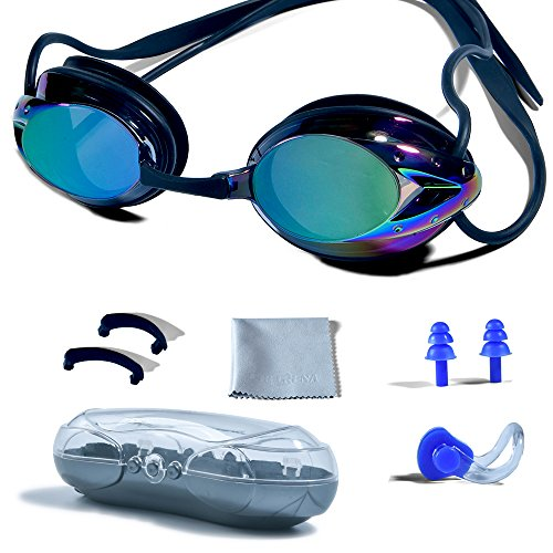 Swimming Goggles, PHELRENA Professional Swim Goggles Anti Fog UV Protection No Leaking for Adult Men Women Kids Swim Goggles with Nose Clip, Ear Plugs, Protection Case and Interchangeable Nose - Swimming Trunks Professional