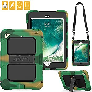 Shockproof iPad Mini 4 Case with Kickstand&Flexible Shoulder Strap , SEYMAC Three Layer Heavy Duty Rugged Soft Silicone Hard Bumper Protective Case for iPad Mini4 [a1538,a1550](Camouflage/Black)