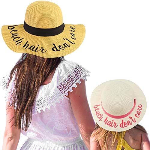 - C.C Womens Mommy and Me Girls Sayings Summer Beach Pool Floppy Dress Sun Hat Beach Hair Don't Care, White