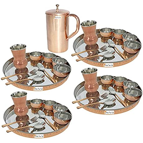 Prisha India Craft Set Of 4 Dinnerware Traditional Stainless Steel Copper Dinner Set Of Thali Plate Bowls Glass And Spoons Dia 13 With 1 Pure Copper Classic Pitcher Jug Christmas Gift