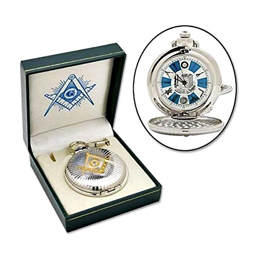 Shining Square & Compass Silver & Gold Masonic Pocket Watch - 2