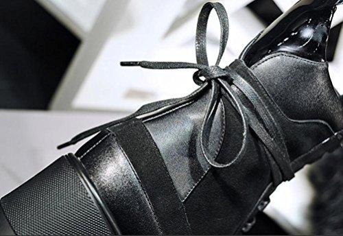 Tondo testa piattaforma Martin svago aumentato con il cinturino in pelle stivali donne breve Bootie , 38